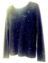 DKNY Sequined Sweater Sm Long Sleeve Black Sparkly Scoop Neck Wool Synth... - $18.33