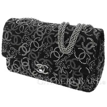 CHANEL Chain Shoulder Bag Tweed Rhinestone Black A48871 France Authentic... - $3,275.28