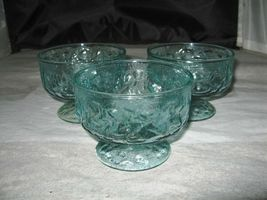 (3) Lido Milano Sherbet Dessert Glass Anchor Hocking Aqua Blue Crinkle - $6.00