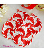 4 Crochet Coasters Peppermint Candy Red White Christmas 100% Cotton Unbr... - $24.99