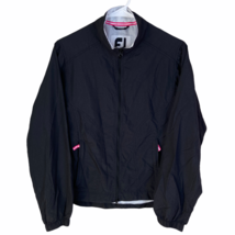 FootJoy Womens Full Zip Golf Jacket XS Black Pink White Water Resistant Wind - $34.55