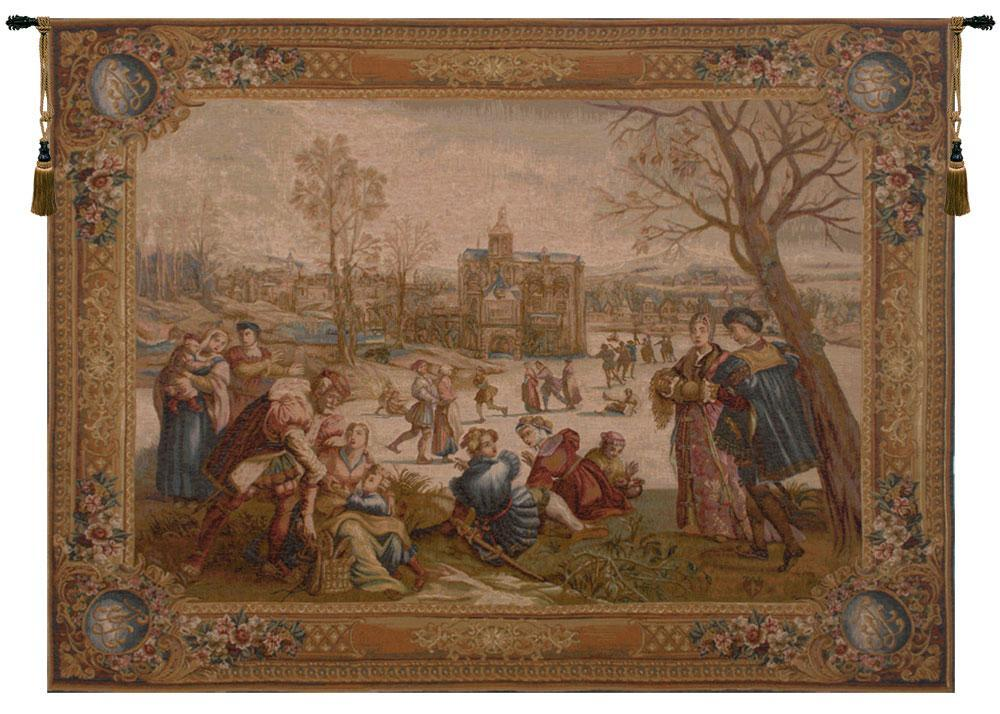 Les Patineurs I European Tapestry Wall Hanging