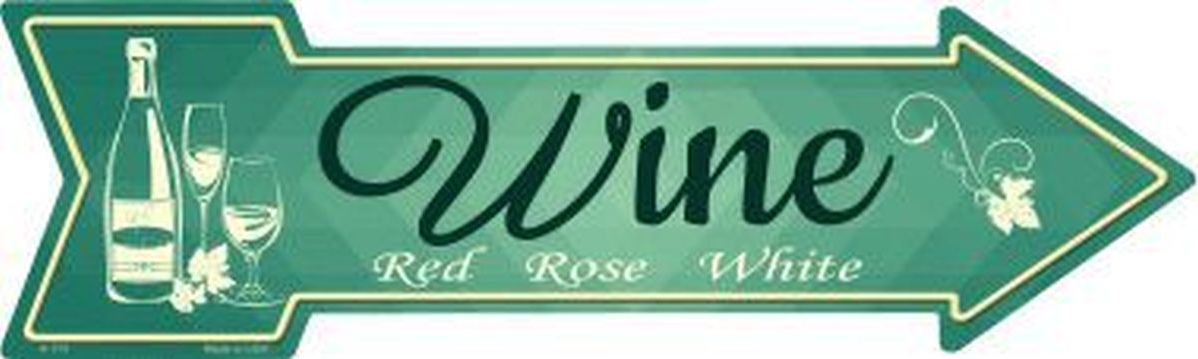 "Primary image for Wine Novelty Metal Arrow Sign 17"" x 5"" Wall Decor - DS"