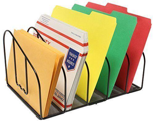 Desk File Sorter Organizer 5 Section Black Drawer Office Document Neat Sorter