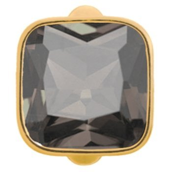 Endless Jewelry Sterling Silver Gold Plated Big Smokey Cube Crystal Charm 51302-