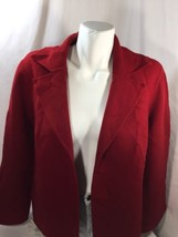 Talbots Women Blazer Jacket Only Petite  Red No Buttons  Long Sleeve Size 12p - $23.38