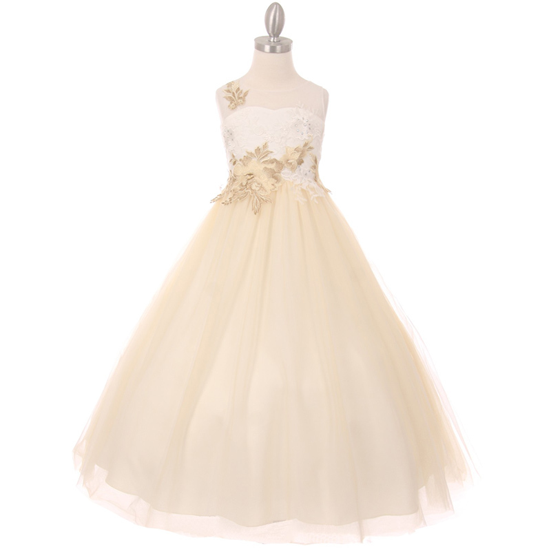 Ivory Rose Illusion A-Line Girl Dress Decorated with Flower Lurex Embellishment