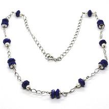 Collar Plata 925 , Azul Lapislázuli Disco Facetado, Perlas, 45 CM image 1