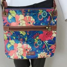SAKROOTS Artist Circle Coated Messenger Crossbody Bag Royal Flower Power... - $49.45
