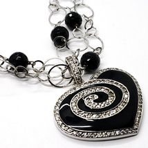 Silver necklace 925, Onyx Black Round, Heart Pendant, Chain three files image 3