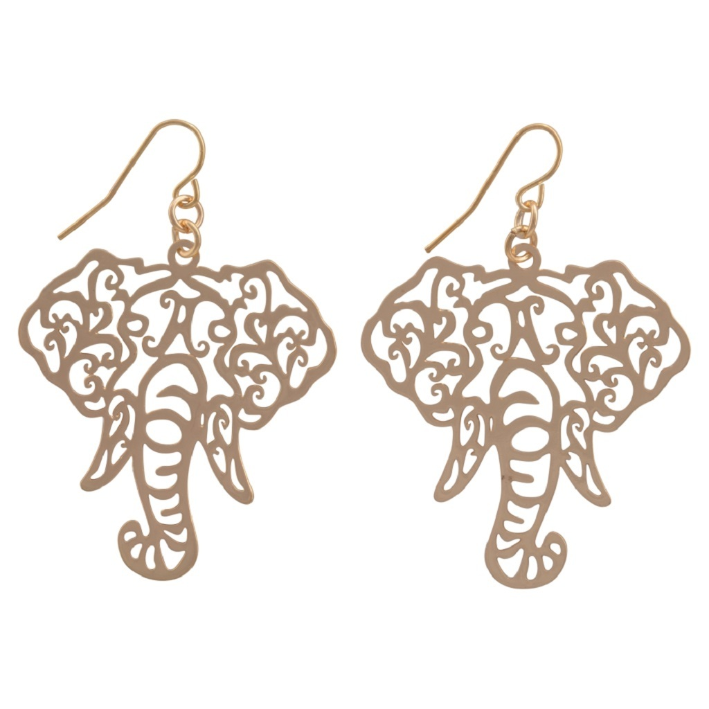 Its Sense Elephant Head Filigree Fish Hook Earrings, Gold or Silver