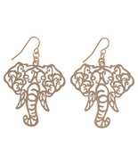Its Sense Elephant Head Filigree Fish Hook Earrings, Gold or Silver - $10.00