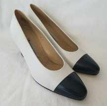 Etienne Aigner Heels Pumps Sz 8 M Two Tone Leather Uppers Marietta Women Shoes - $12.00