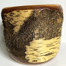 "Birch Bark Planter Wood Pot Bowl 7"" Vtg Mid Century Thick Heavy Rustic - $59.39"