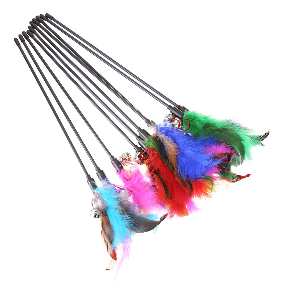 5Pcs Cat Toys Soft Colorful Cat Feather Bell Rod Toy for Cat Kitten Funny Playin