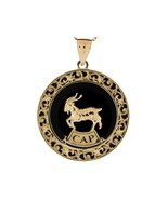10K or 14K Yellow Gold & Onyx Capricorn Zodiac Pendant - $599.99+