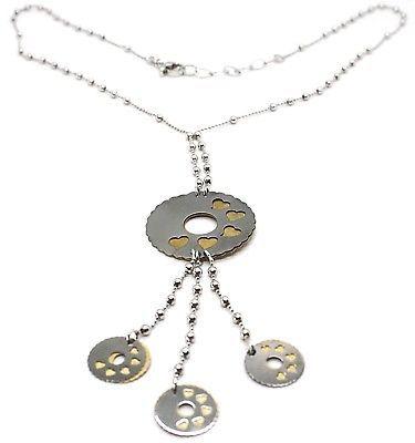 Collier Argent 925, Chaîne Billes, Fleur, Cœurs, Disques Pendentifs, Bicolore