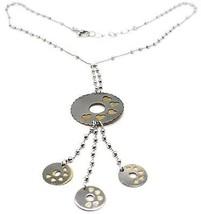 Collier Argent 925, Chaîne Billes, Fleur, Cœurs, Disques Pendentifs, Bicolore image 1