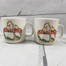Vintage Mug Gibson Housewares Fruit Basket Coffee Tea Cup Lot Of 2 Mugs Used - $32.07