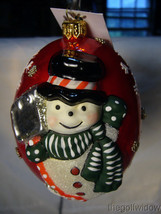 Vaillancourt Folk Art Jingle Balls Ornament Snowman with Shovel Red Pearlized image 1