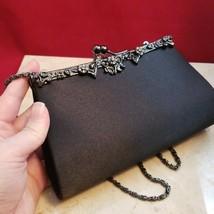 Pretty Evening Shoulder Bag Black with Flowers - $14.99