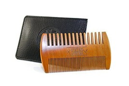 Dual side natural wood beard comb faux leather case anti static fine wid... - $13.92