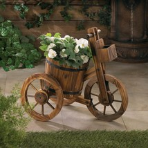 Barrel Tricycle Wooden Planter - $79.95