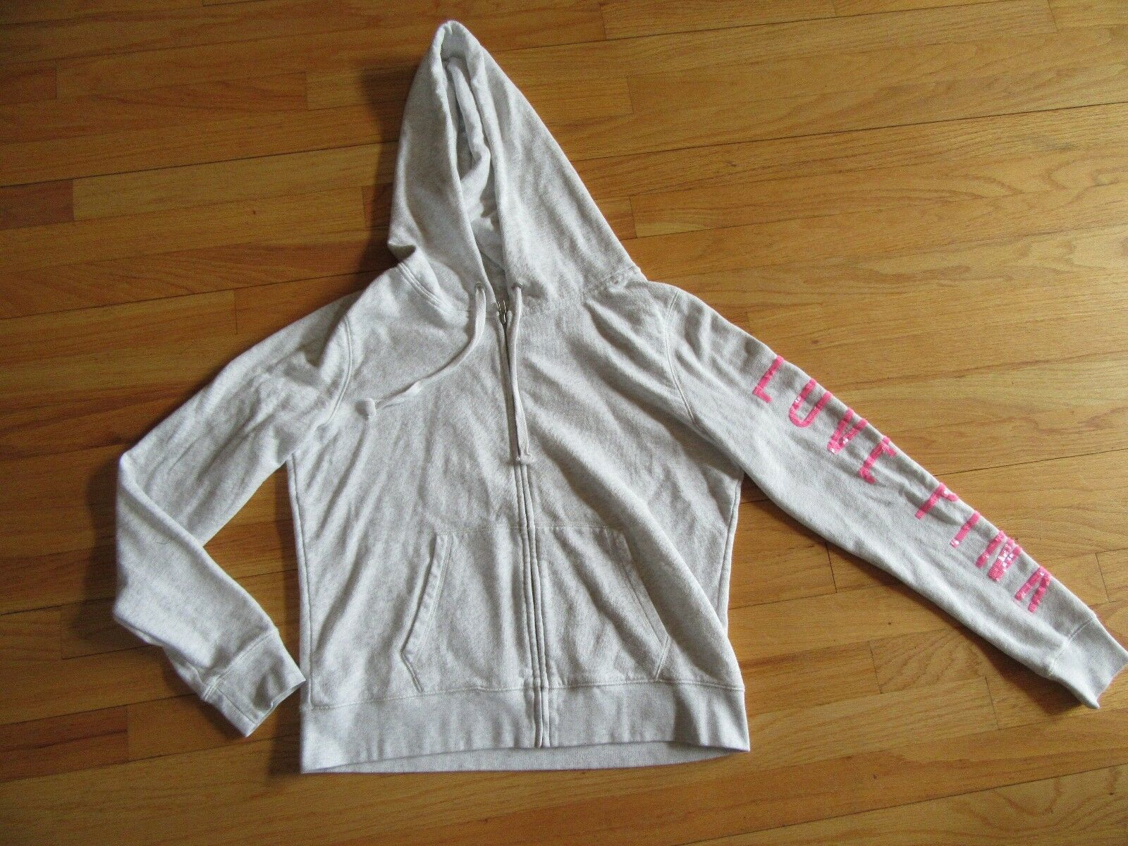 "9B/VICTORIA'S SECRET PINK FULL ZIP HOODIE/PINK ""P""/LOVE PINK/SIZE LARGE!"