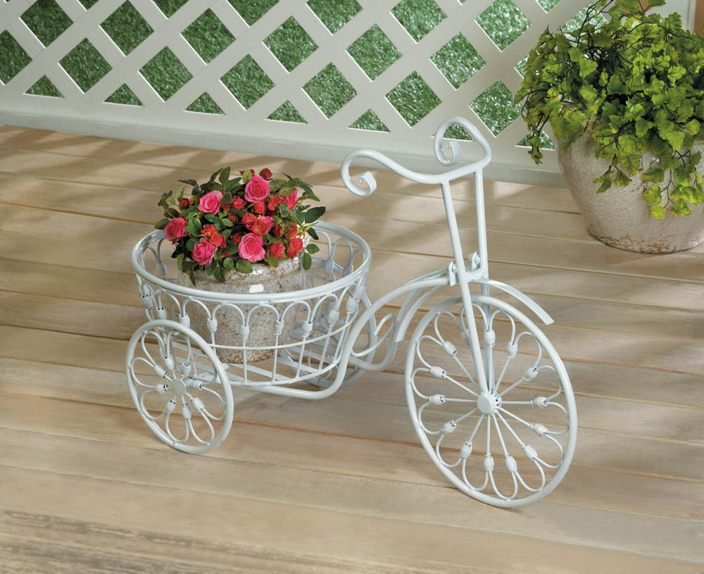 Primary image for White Vintage Style Three Wheel Bicycle Iron Plant Stand w/ Basket