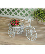 White Vintage Style Three Wheel Bicycle Iron Plant Stand w/ Basket  - £27.86 GBP