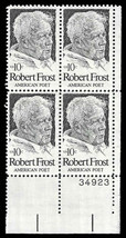 1974 10c Robert Frost Plate Block of 4 US Postage Stamps Catalog Number 1526 MNH