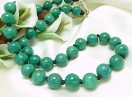 Russian Amazonite Gemstone Round Beaded Necklace  - $58.00