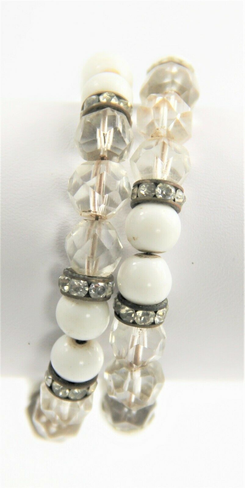"7"" ESTATE VINTAGE Jewelry MILK GLASS CRYSTAL RHINESTONE RONDELLE COIL BRACELET"