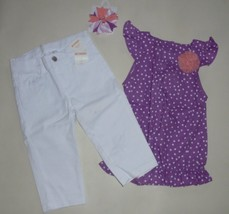 Gymboree Girls White Twill Capri Pinwheel Pastels Purple Dot Top  Bow  4  NWT - $24.99