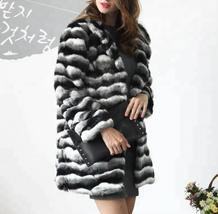 Women's Soft Luxury Chinchilla Faux Fur Winter Fashion Runway Coat image 3