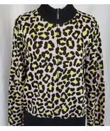 St John Knit Cardigan Sweater Cheetah Print Black Pink Yellow Spots Medi... - $181.91