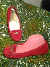 MICHAEL KORS RED WOMEN'S SUEDE LEATHER LOGO SLIP ON SHOES FLATS MRSP $139 - $39.59