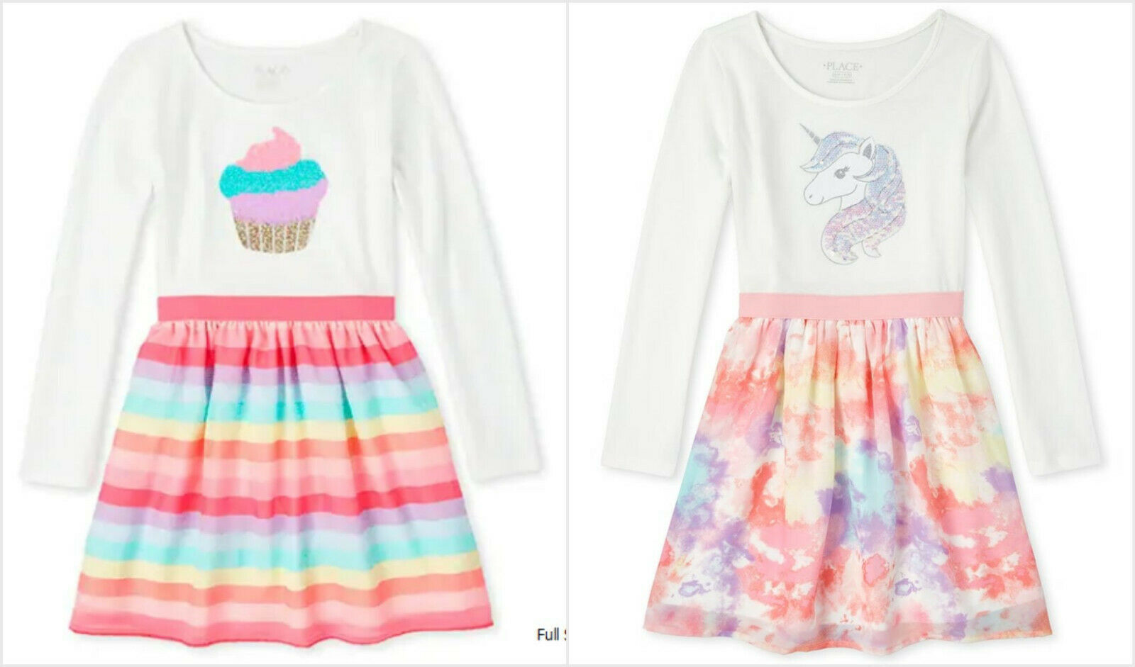 Primary image for NWT The Children's Place Girls Flip Sequin Cupcake Unicorn Rainbow Tutu Dress