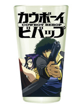 Cowboy Bebop Clear Pint Glass with Spike and Faye Pointing Guns NEW UNUSED - $9.74