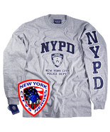 NYPD T-SHIRT GRAY LONG SLEEVE OFFICIALLY LICENSED BY NEW YORK CITY POLIC... - $19.99