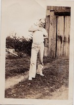 Antique Vintage Photograph Man Posing With Hand on Chest By Old Barn - $5.35