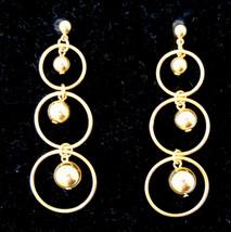 Long Dangle Pierced Earrings Gold Tone Circles Nickel Free Studs ✿ VTG A... - $19.75
