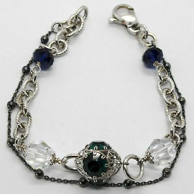 SILVER 925 BRACELET RHODIUM AND BURNISHED WITH CRYSTALS COLOURFUL MADE IN ITALY