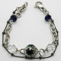 SILVER 925 BRACELET RHODIUM AND BURNISHED WITH CRYSTALS COLOURFUL MADE IN ITALY image 1