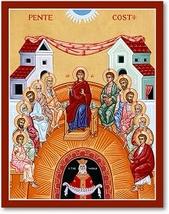 "Pentecost Icon 3"" x 4"" Print With Lumina Gold"