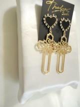 """Thalia Sodi 3-3/4""""Gold-Tone Rose-Cross & Heart Stud Drop Earrings B968 $29 - $14.39"""