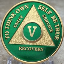 5 Year AA Medallion Green Gold Plated Alcoholics Anonymous Sobriety Chip... - $20.39
