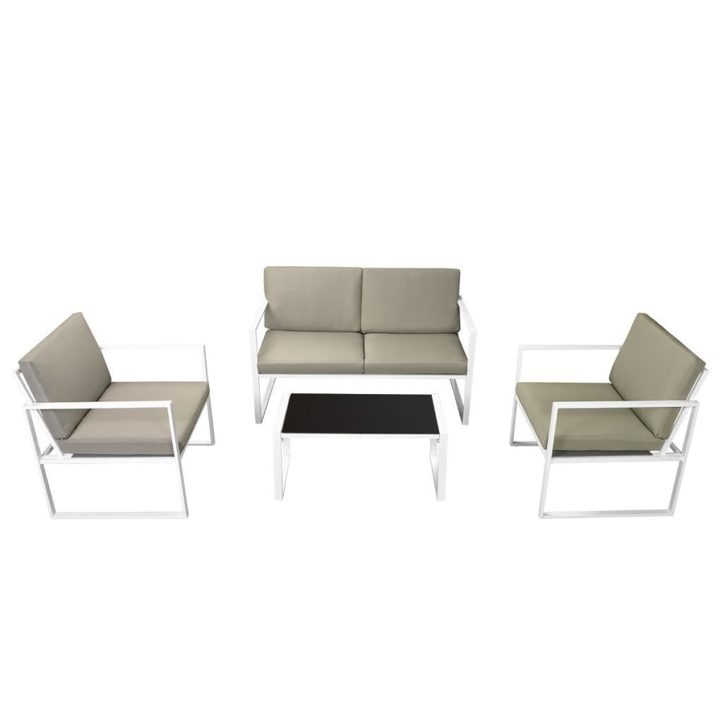 vidaXL Patio Garden Sofa Set 2 Armchairs 2-Seater Sofa Coffee Table w/ Cushions image 2