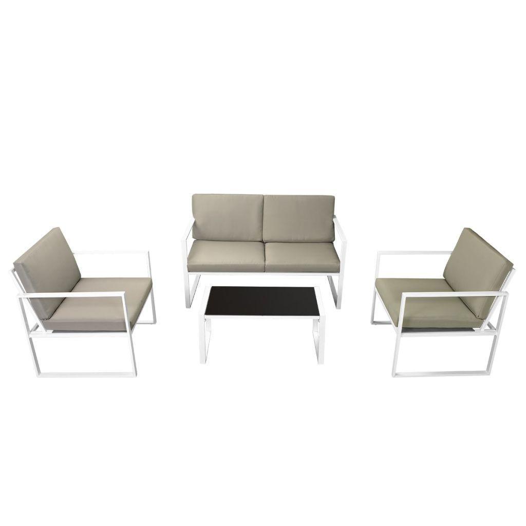 vidaXL Patio Garden Sofa Set 2 Armchairs 2-Seater Sofa Coffee Table w/ Cushions