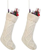 Free Yoka Cable Knit Christmas Stockings Kits Solid Color White Ivory Cl... - $21.26